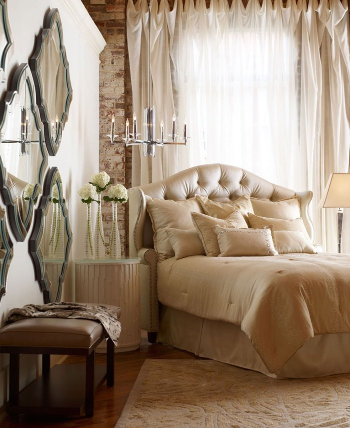stunning hanging mirrors for neutral look bedroom idea e1421854839206